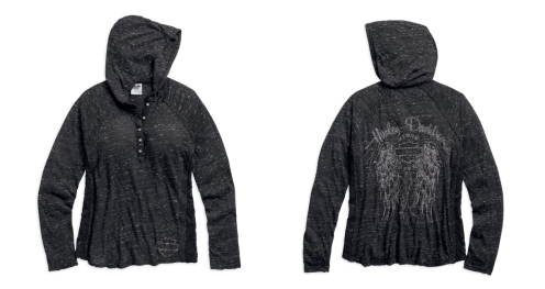 Women's Henley Lace Accent Hoodie
