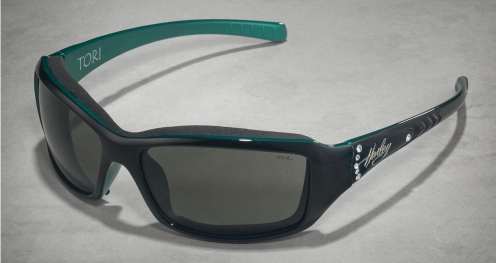 HD Tori Grey Lens/Gloss Black W Green Frame W Stones (Women's)