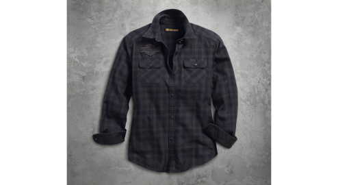 Women's Applique Plaid Flannel Relaxed Fit Shirt(front)