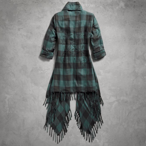 Women's Plaid Fringed Woven Cardigan(back)