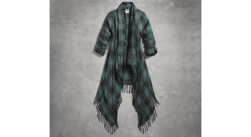Women's Plaid Fringed Woven Cardigan(front)