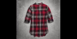 Women's Roll-Tab Sleeve Plaid Slim Fit Shirt(Back)