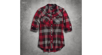 Women's Roll-Tab Sleeve Plaid Slim Fit Shirt(FrontA)