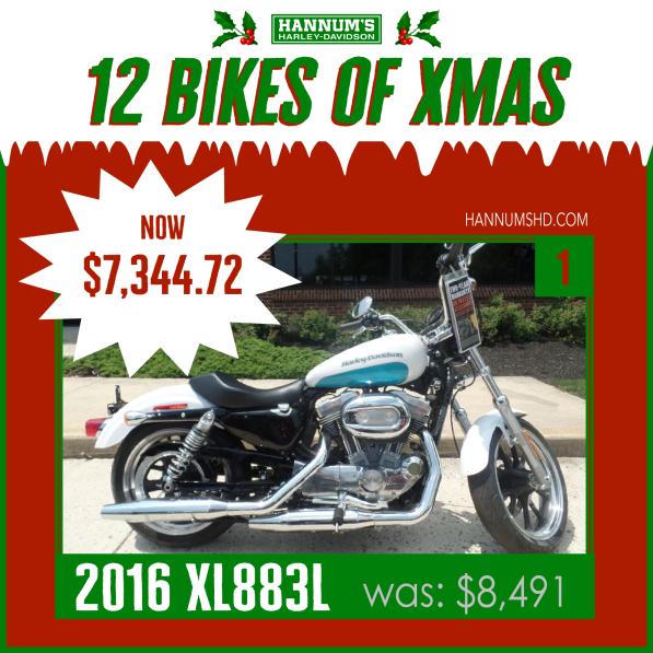 #1. 2016 XL883L in Sellersville, PA: http://bit.ly/2xmtq0W